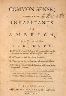 Cover of Common Sense by Thomas Paine